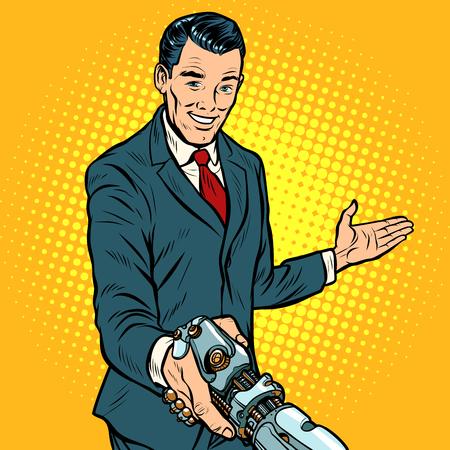 Illustration pour businessman shaking hands with robot, new technology - image libre de droit