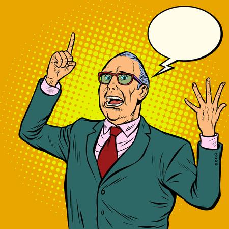 Illustration pour Old man emotional speaker. Pop art retro vector illustration - image libre de droit