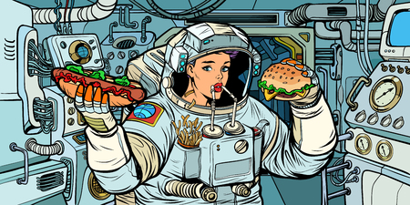 Illustration pour Woman astronaut eats in a spaceship - image libre de droit