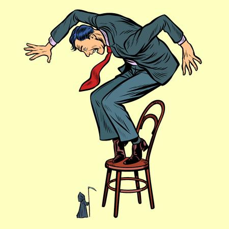 Illustration pour man and death with a scythe. Businessman scared. Pop art retro vector illustration kitsch vintage drawing - image libre de droit