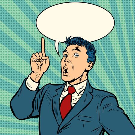 Illustration pour businessman surprise index finger up gesture. Pop art retro vector illustration vintage kitsch - image libre de droit