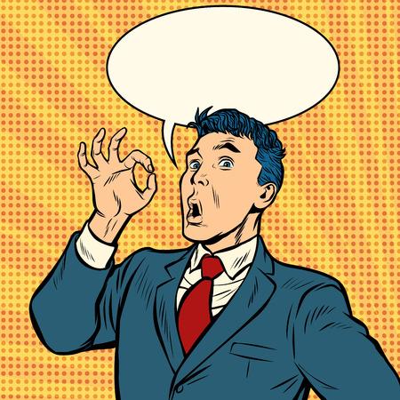 Illustration pour businessman surprise OK gesture. Pop art retro vector illustration vintage kitsch - image libre de droit
