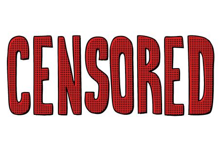 censored word text. Pop art retro vector illustration kitsch vintage