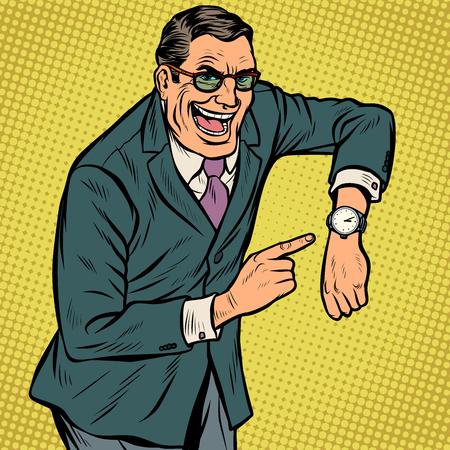 Ilustración de happy face late points to watch. Pop art retro vector illustration kitsch vintage - Imagen libre de derechos