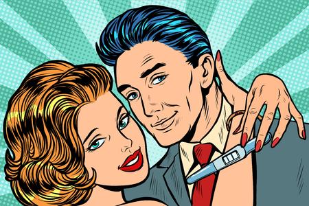 Photo pour couple in love hug pregnancy test. Pop art retro vector illustration vintage kitsch - image libre de droit