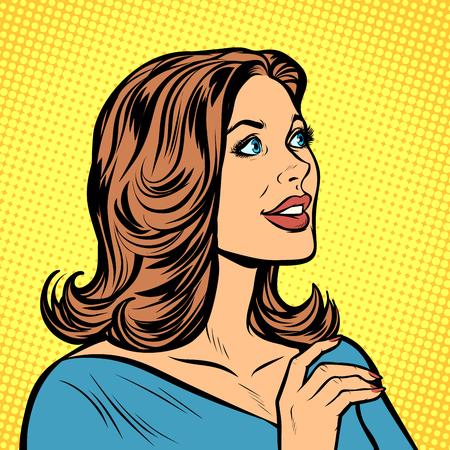 Photo pour beautiful woman in profile. Pop art retro vector illustration drawing kitsch vintage - image libre de droit