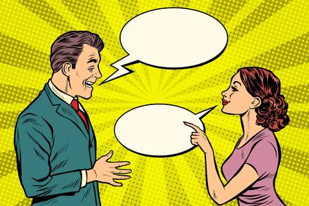 Illustration pour woman and man talking. Pop art retro vector illustration kitsch vintage - image libre de droit