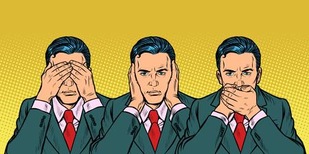 Illustration pour Not see say look concept man businessman. Pop art retro vector illustration vintage kitsch 50s 60s - image libre de droit