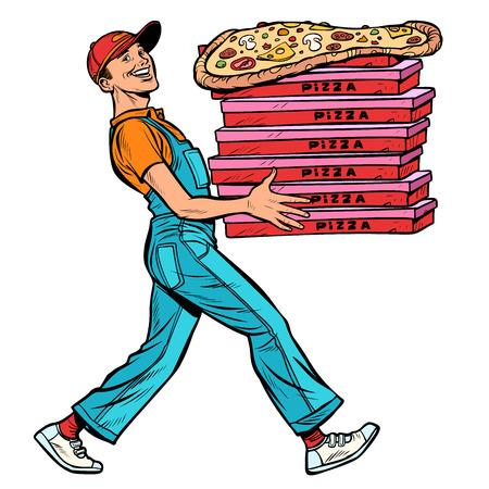 Illustration pour young man pizza boy, food delivery. isolate on white background Pop art retro vector illustration vintage kitsch - image libre de droit