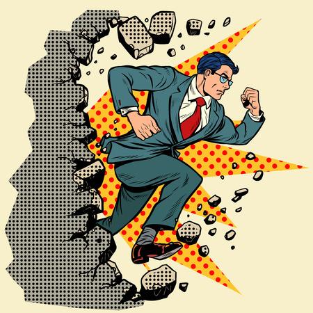 Ilustración de Leader businessman breaks a wall, destroys stereotypes. Moving forward, personal development. Pop art retro vector illustration vintage kitsch - Imagen libre de derechos