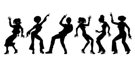 Ilustración de silhouettes collection set. young people dancing. men women boys girls. Pop art retro vector illustration kitsch vintage - Imagen libre de derechos