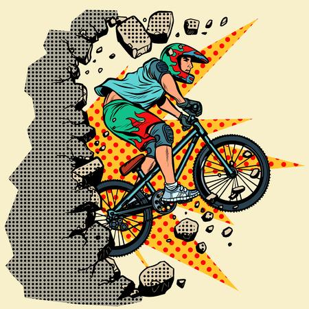 Illustration pour cyclist extreme sports wall breaks. Moving forward, personal development. Pop art retro vector illustration vintage kitsch - image libre de droit
