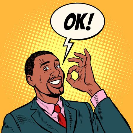 Ilustración de OK african man businessman. hand gesture okay. success good. Pop art retro vector illustration vintage kitsch 50s 60s - Imagen libre de derechos