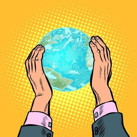 Illustration pour earth day ecology nature conservation planet humanity house. Pop art retro vector illustration vintage kitsch 50s 60s - image libre de droit