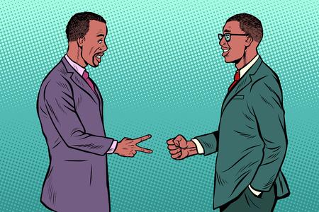 Illustration pour african businessmen game rock paper scissors. Pop art retro vector illustration vintage kitsch 50s 60s - image libre de droit