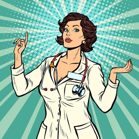 Ilustración de woman doctor presentation gesture. Pop art retro vector illustration vintage kitsch 50s 60s - Imagen libre de derechos