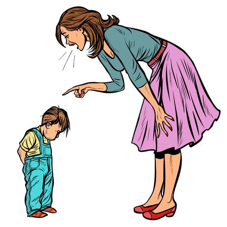 Illustration pour mother and guilty son. isolate on white background. Pop art retro vector illustration vintage kitsch - image libre de droit