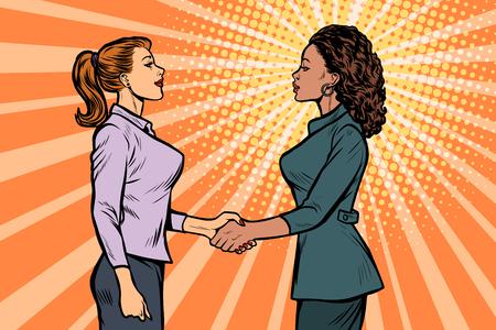 Illustration pour African and Caucasian businesswomen shaking hands. Pop art retro vector illustration vintage kitsch 50s 60s - image libre de droit