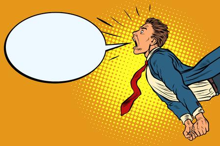 Ilustración de panic businessman screaming. Pop art retro vector illustration kitsch vintage - Imagen libre de derechos