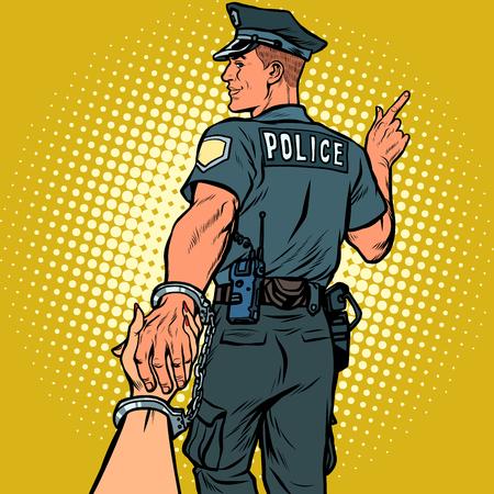 Photo pour follow me police officer arrested woman. love and marriage concept. Pop art retro vector illustration kitsch vintage - image libre de droit