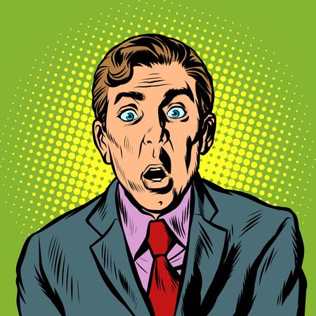 Ilustración de surprised man businessman. Pop art retro vector illustration vintage kitsch - Imagen libre de derechos