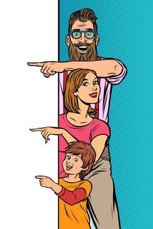announcement advertising. family dad mom son. Pop art retro vector Illustrator vintage kitsch drawing