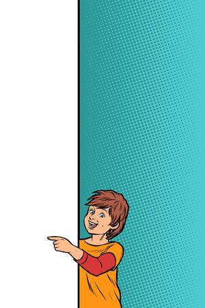 Illustration pour boy child son shows on copy space poster. Pop art retro vector Illustrator vintage kitsch drawing - image libre de droit