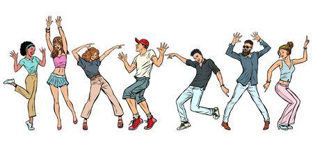 Illustration for collection set. young people dancing. men women boys girls. Pop art retro vector illustration kitsch vintage - Royalty Free Image