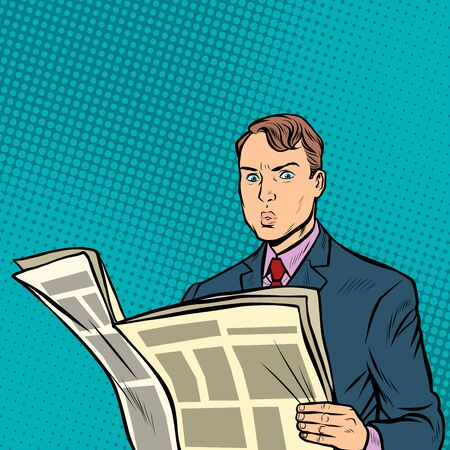 Illustration for man reading a newspaper. Pop art retro vector illustration drawing - Royalty Free Image