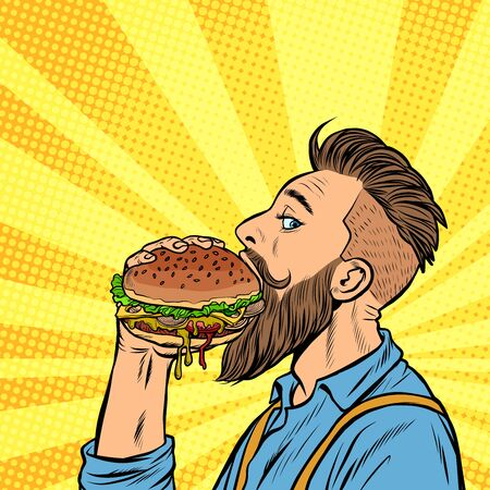 Illustration pour hipster man eating Burger. Pop art retro vector stock illustration drawing - image libre de droit