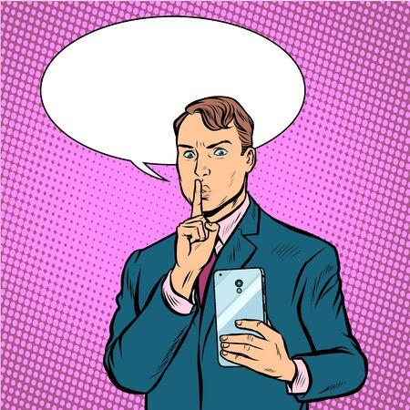 Ilustración de serious man takes pictures on a smartphone. Pop art retro vector illustration drawing - Imagen libre de derechos