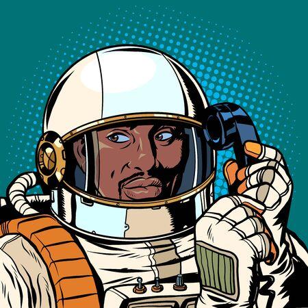 Photo pour serious african astronaut talking on a retro phone. Pop art retro vector illustration drawing - image libre de droit