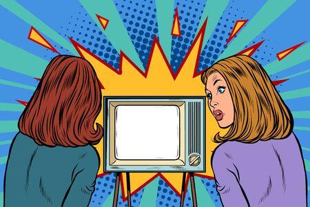 Illustration pour Two girlfriends watching TV. Business woman. Pop art retro vector illustration drawing - image libre de droit