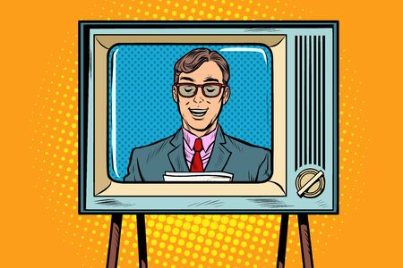 Illustration pour TV news anchor. Pop art retro vector illustration drawing - image libre de droit