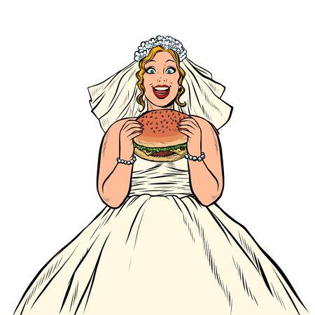 Illustration pour Bride eats fast food Burger. Hungry woman - image libre de droit
