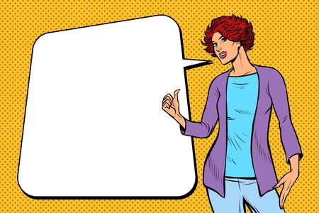 Ilustración de woman advertises presents - Imagen libre de derechos