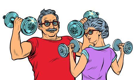 Illustration for Grandparents do sports, fitness dumbbells. Pop art retro vector illustration drawing vintage kitsch - Royalty Free Image