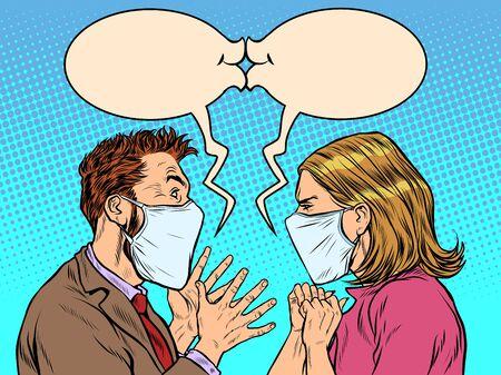 Illustration pour man and woman in medical masks kiss. Pop art retro vector illustration vintage kitsch 50s 60s style - image libre de droit