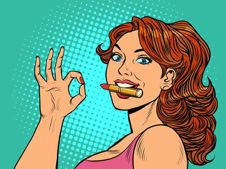 Illustration pour a woman with lipstick. OK gesture. Fashionable beautiful woman. Perfumery - image libre de droit