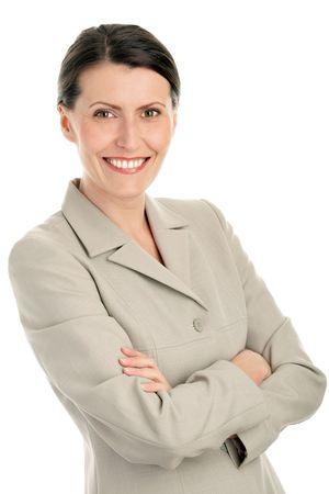 Photo pour Portrait of attractive businesswoman with arms crossed - image libre de droit