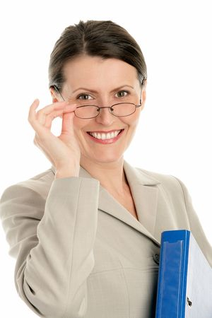 Mature businesswoman wearing glasses and holding ring binder