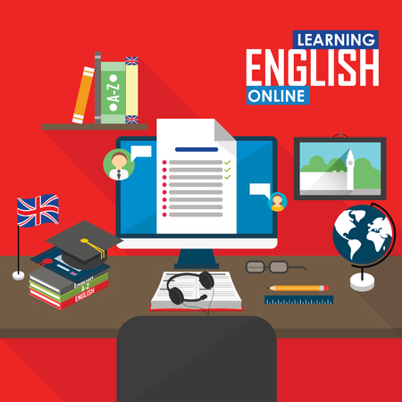 Flat design vector illustration concept of learning English language online, distance education and online training courses.