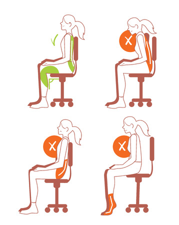 Illustration for Sitting positions. Correct and bad sitting position, back pain, vector illustration - Royalty Free Image