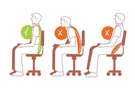 Illustrazione per Sitting positions. Correct and bad sitting position, back pain, vector illustration - Immagini Royalty Free