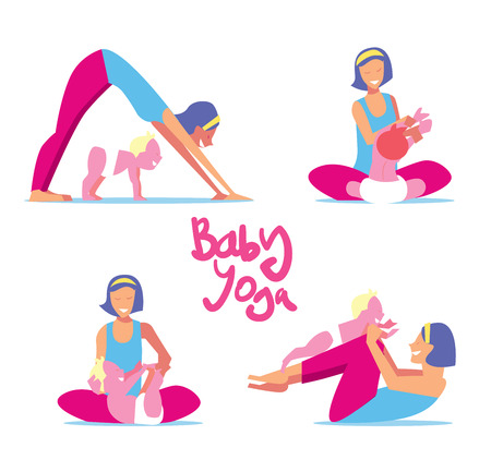 Illustration pour Baby yoga set. Mom with a child engaged in exercises of yoga for the baby health. Vector illustration. - image libre de droit