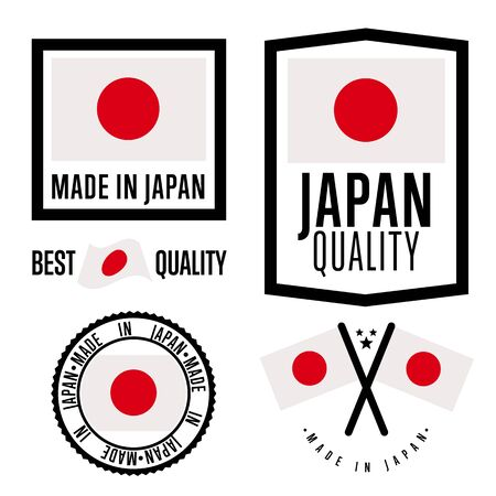 Illustration pour Made in Japan label set. Vector Japan flag. Symbol of quality. Manufacturing by Japan. Tags and sticker collection. Vintage and modern stamp. - image libre de droit
