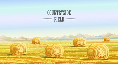 Illustration pour Countryside. Rural area. Fields with haystacks. Country Landscape. Meadow background. Hay bales. Farming life. Vector illustration in cartoon style. - image libre de droit