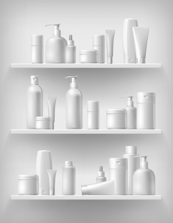 Illustration pour Cosmetic brand template. Vector packaging. Oil, lotion, shampoo. Realistic bottle mock up set. Isolated pack on the shelf. - image libre de droit