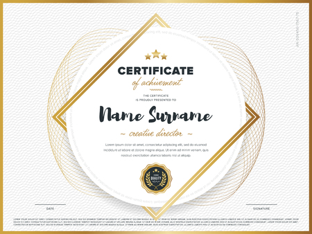 Ilustración de Certificate vector template. Diploma design. Graduation, achievement, success. - Imagen libre de derechos