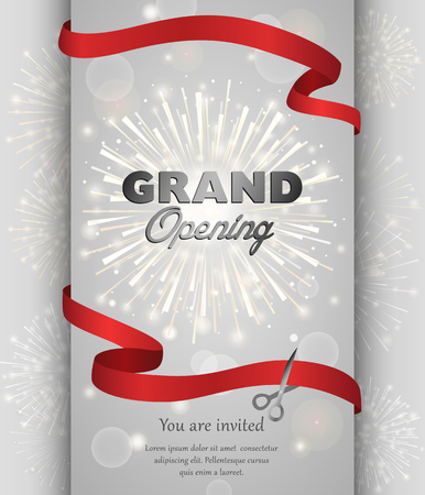 Grand opening celebration banner design vector illustration. Ribbon cutting ceremony.